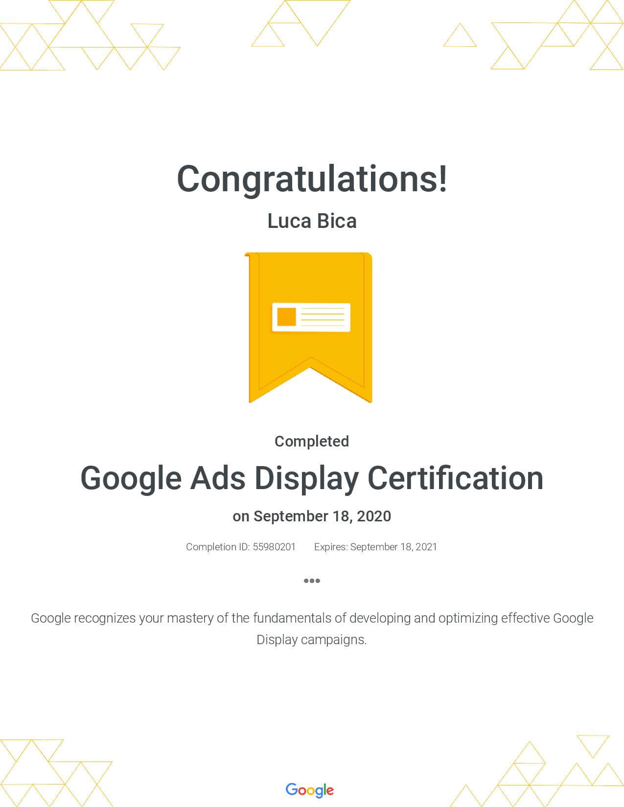 Google Ads Display Certification - Luca Bica