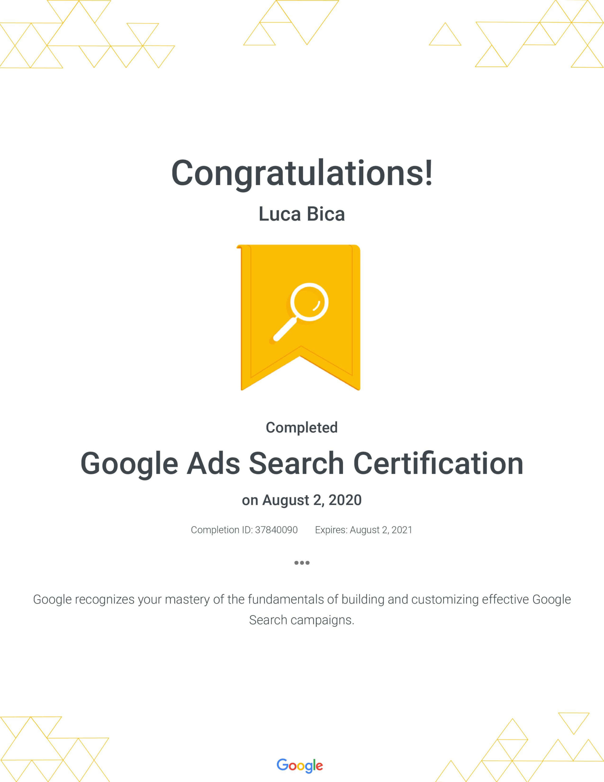 Google Ads Search Certification - Luca Bica