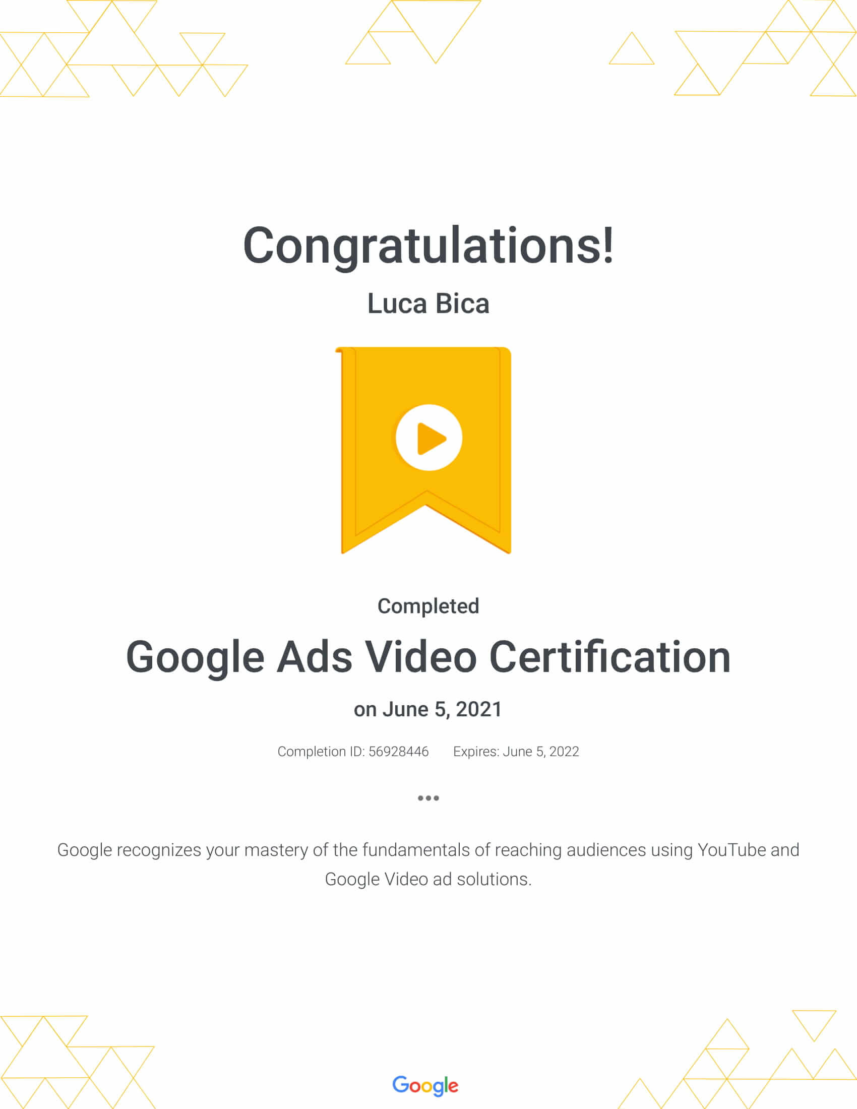 Google Ads Video Certification Luca Bica - WebHipsters