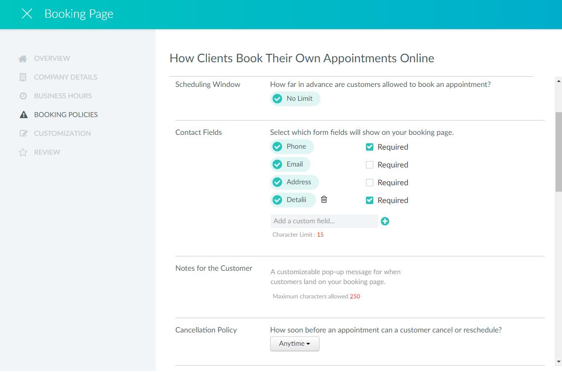 Campuri personalizate profil clinet aplicatia SetMore