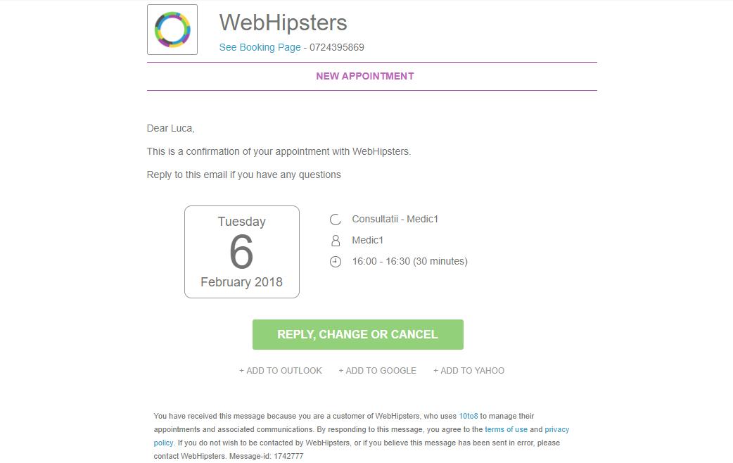 Notificare pe mail pentru clienti aplicatia 10to8