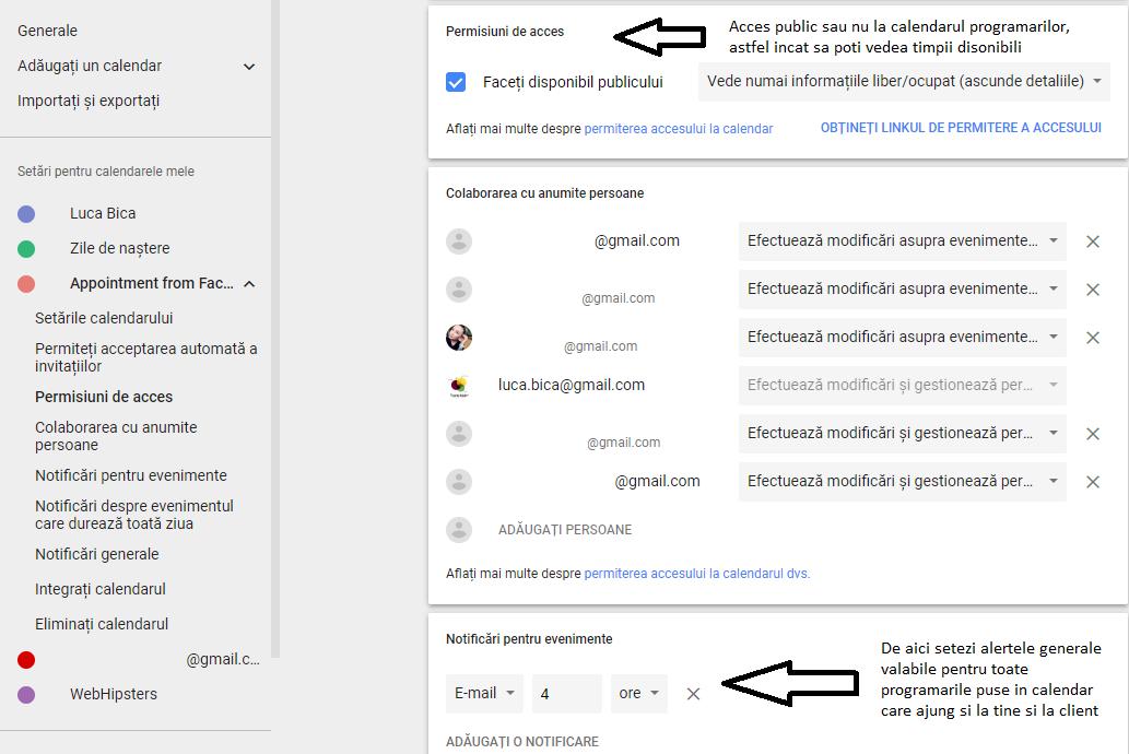 Permisiuni Calendar Google