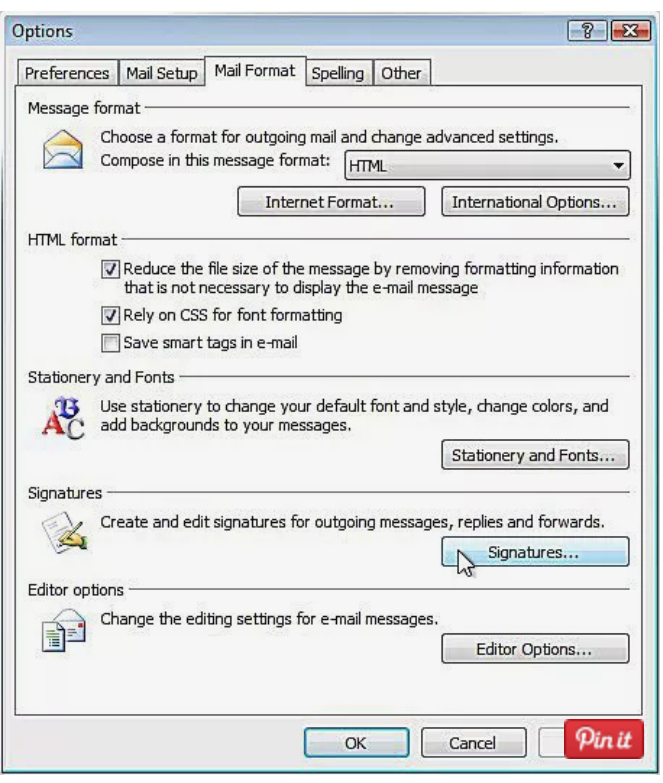 pasul 2 semnatura mail Outlook