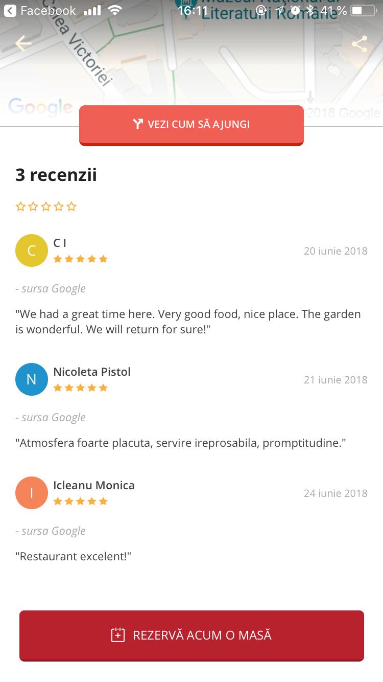 recenzii restaurant ecran Ialoc aplicatie rezervari restaurant