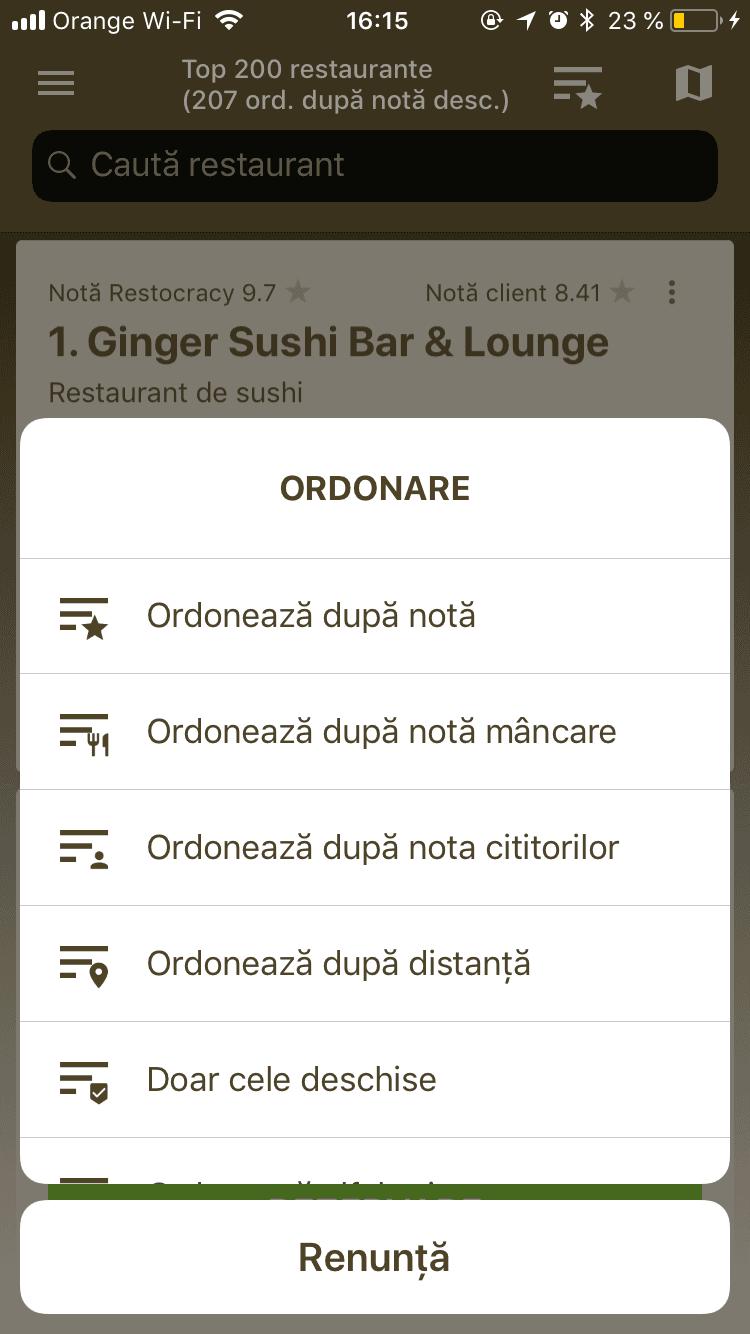 filtre cautare apliatie rezervari restaurant