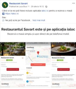 Facebook Restaurant Savart - Listare pe Aplicatia Ialoc