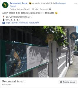 Facebook Restaurant Savart Bucuresti - Locul unde sa prepara bunataturi in fiecare zi