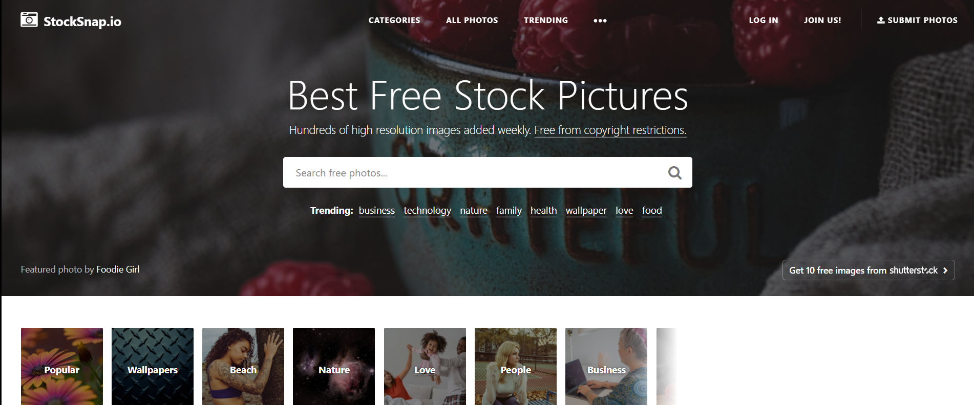 StockSnap website cover