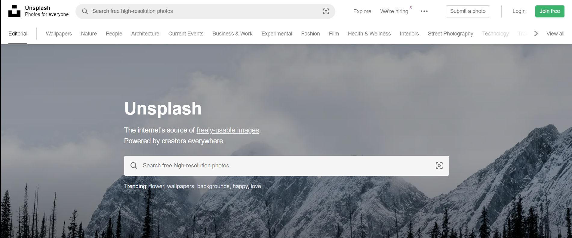 Unsplash photo search engine