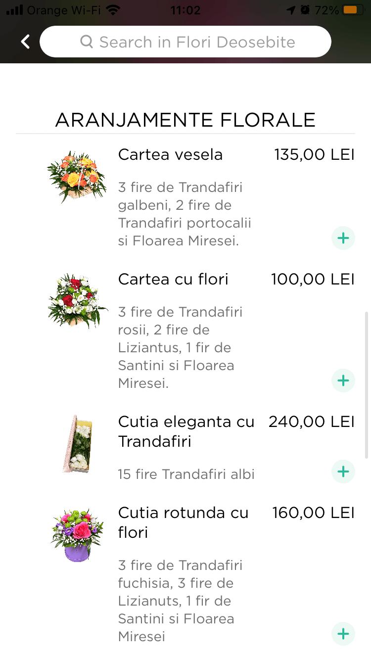 lista produse in aplicatie de livrare