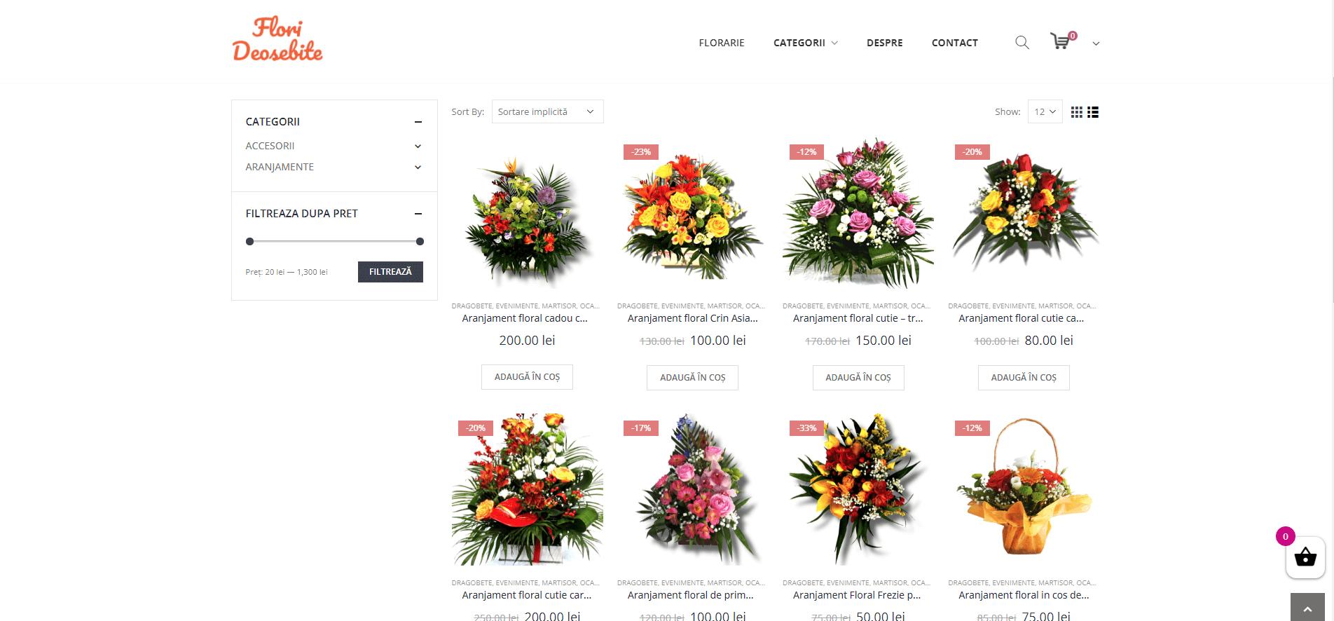 Portofoliu Magazin Online Flori - Pagina Shop